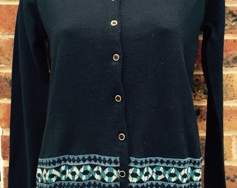 Navy Blue Cardigan with handmade Palestinian Embroidery in shades of blue