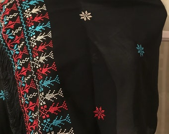 Black Chiffon Shawl / scarf with Red and colourful Palestinian embroidery / cross stitch