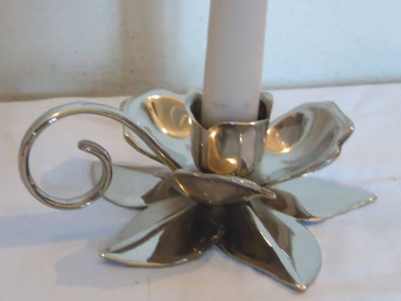 Kerzenständer mit griff silber metall form blume blume etsy