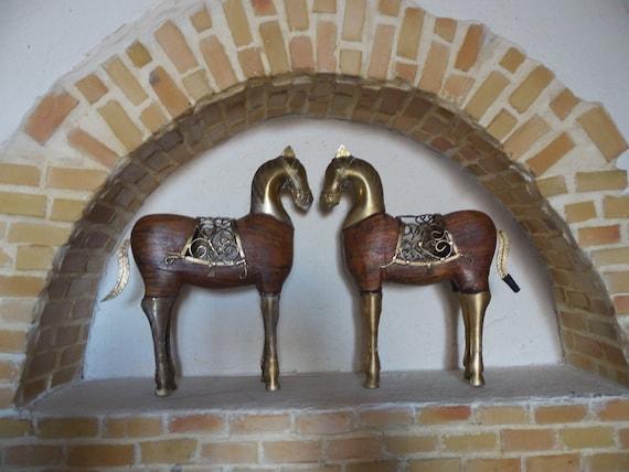 Paar gouden paarden voor hout en metaal ambachten deco etsy