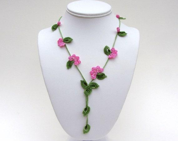 Crochet Necklace Pdf Pattern Vine Necklace Photo Tutorial Oya Etsy