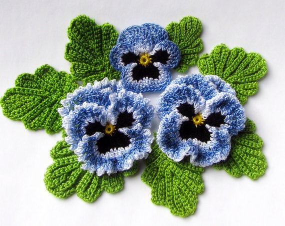 Irish Crochet Flower Pattern Pdf Pansy Photo Tutorial Spring Etsy
