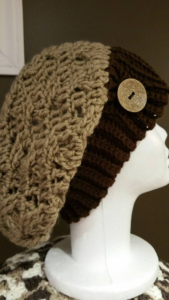 Brown and Taupe Slouchy Beanie, Hat, Toque, Woman's, Crocheted Hat, Winter, Girl's Hat, Crocheted Wide Band, Slouchy Beanie with a Button