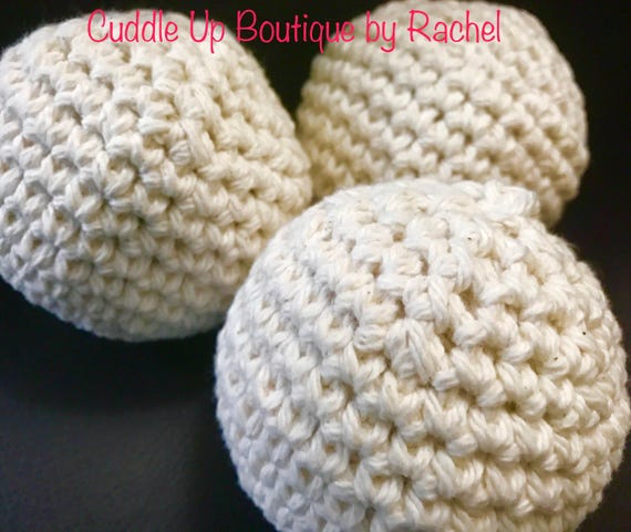 Dryer Balls, Fabric Softener, Essential Oils Scented, Set of 3, Crocheted Cotton Balls, Chemical Free Laundry, Less Wrinkle, Less Static