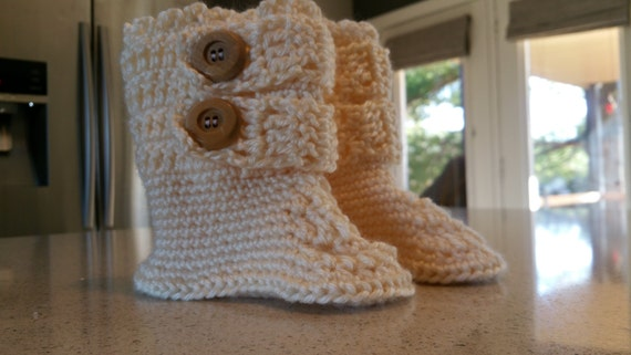 Cream Crocheted Wood Buttoned Baby Booties, Crocheted Baby Boots, Natural Wood Buttons, Buttoned Up Booties, Little Girl Buttoned Up Boots