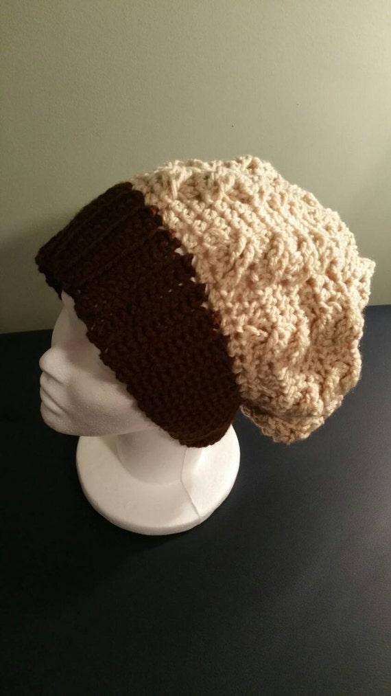 Slouchy Beanie Toque, Stylish Crocheted Winter Hat, Women's Brown & Cream, Thick Wide Band Beanie, Women's Beanie, Women's Toque