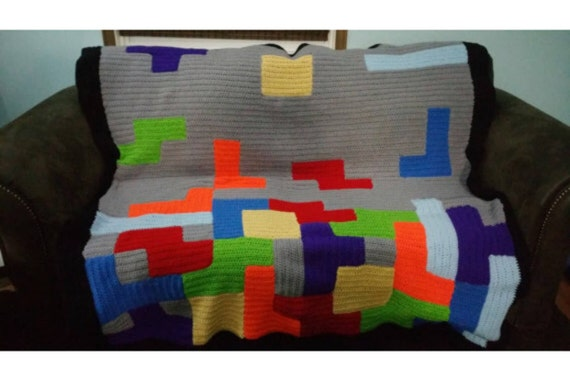 Video Game Room Throw,Bordered Blanket, Kids Fun Afghan, Color Blocks, Colour Lap Aghan, Gender Neutral, Baby Boy or Girl, Crib Blanket