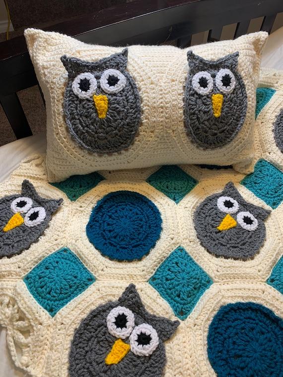 Crocheted Owl Baby Blanket, Lap Afghan, Gender Neutral Baby Blanket, Baby Boy Gift, Baby Girl Gift, Crib Blanket, Car Seat & Stroller Afghan