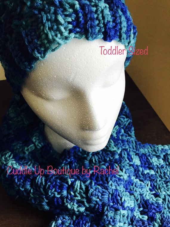 Blue Crocheted Ribbed Toddlers Beanie, Hat, Toque and Corner to Corner Toddler Scarf Set, Corcheted Gender Neutral, Little Boy, Little Girl