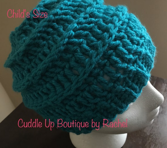 Teal Child's Ribbed Beanie, Hat, Toque, Crocheted Child's Beanie, Gender Neutral Winter Hat, Ribbed Child's Hat, Little Boy Hat, Little Girl