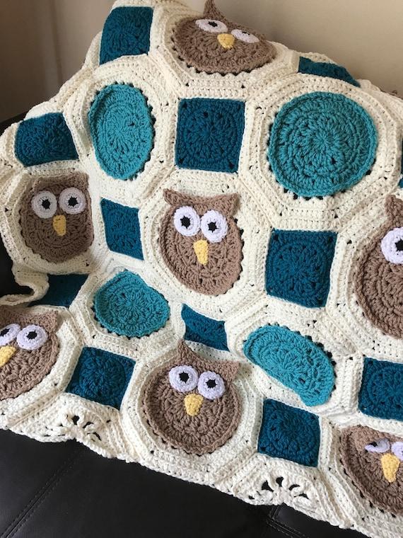 Crocheted Owl Afghan Blanket - Toddler Blanket