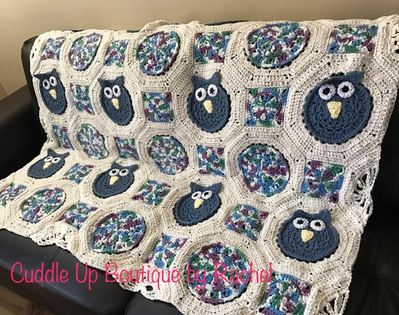 Crocheted Cotton Owl Afghan Blanket