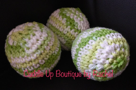 Dryer Balls, Essential Oils Scented, Set of 3, Naturally Soften, Crocheted Cotton Balls, Chemical Free Laundry, Less Wrinkle, Less Static