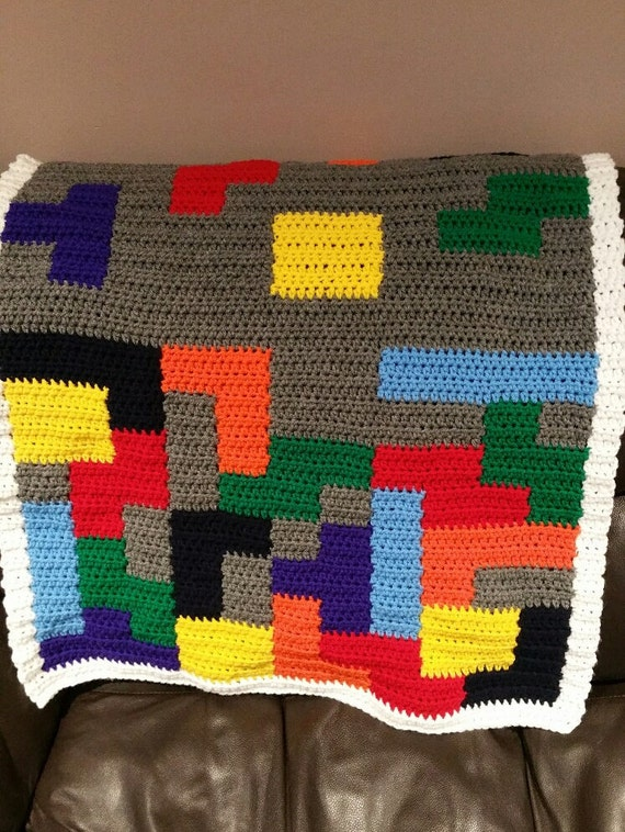Bordered Blanket, Kids Fun Afghan, Video Game Room Throw, Color Blocks, Colour Lap Aghan, Gender Neutral, Baby Boy or Girl, Crib Blanket