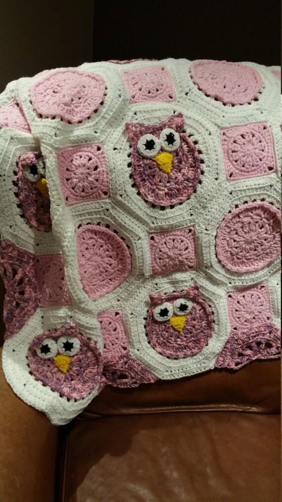 Baby Girl Owl Blanket - Crocheted Owl Afghan