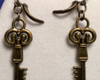 Antique Bronze tiny Key earrings