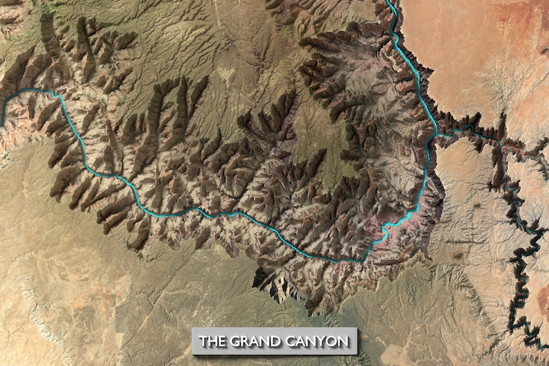 Topographic Map Of The Grand Canyon.Grand Canyon Mapthe Grand Canyon Topographic Map Grand Etsy
