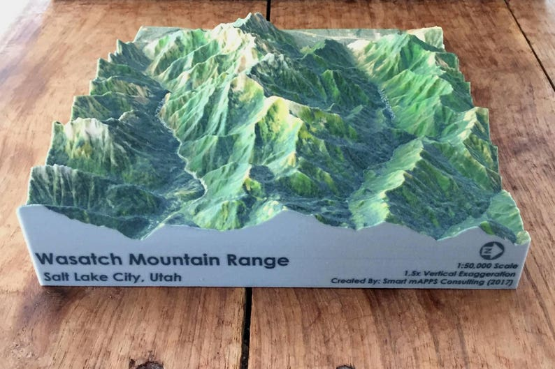 Wasatch Range Utah: 3D Printed Topographic Map 3D Topo Map | Etsy