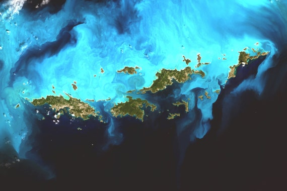 Virgin Islands Centered Satellite Imagery US Virgin Islands   Etsy