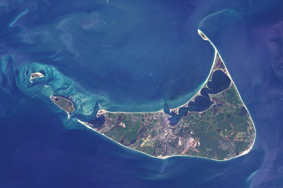 Nantucket Satellite Imagery, Machusetts, USA, Aerial Map, Map Art, on