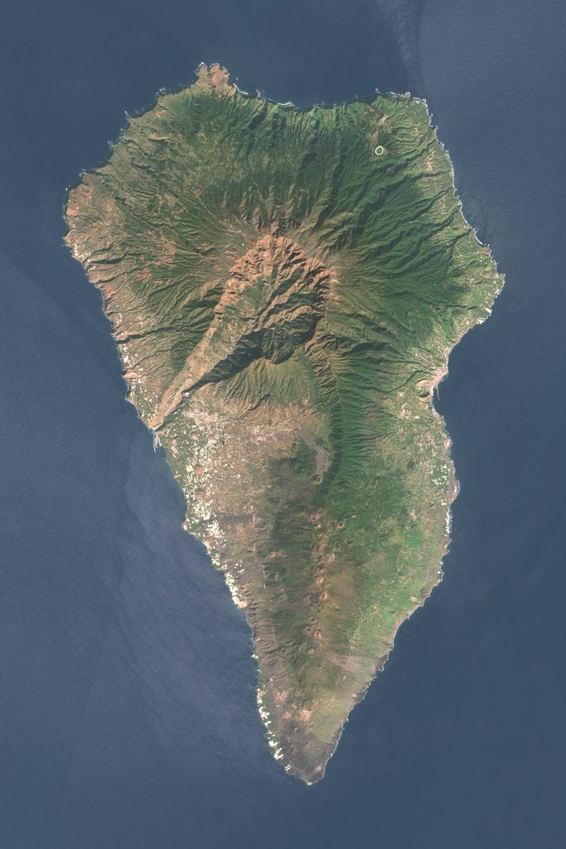 Satellite Map Of Spain.La Palma Aerial Map Canary Islands Spain Satellite Image Satellite Map Map Art Art Print