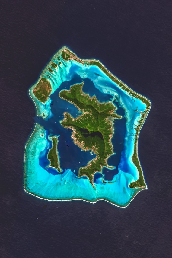 Bora Bora Satellite Imagery Aerial Map Map Art Satellite Image Satellite Map Society Islands French Polynesia
