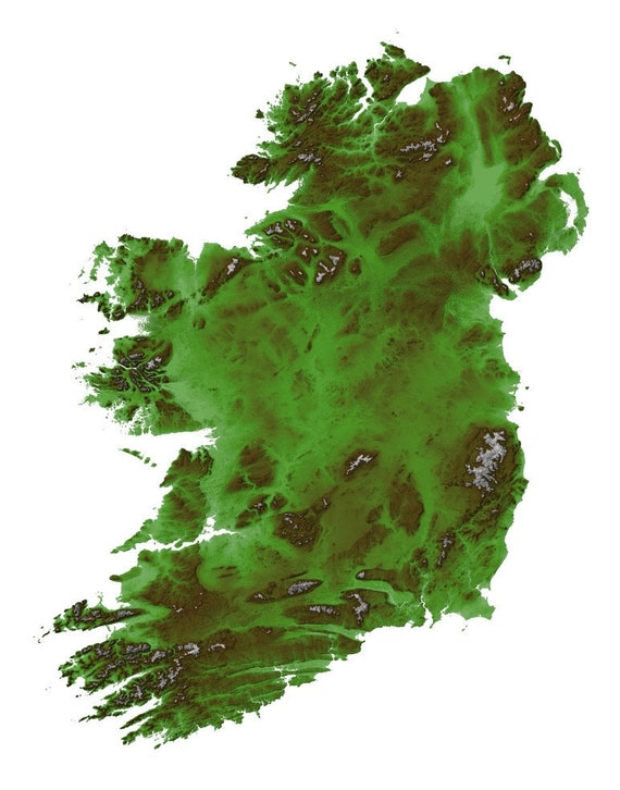 Ireland Map, Ireland Emerald Terrain Map, Ireland Topographic Map, Map Art,  Emerald