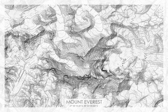 topographic map of mount everest Mount Everest Grayscale Topographic Map Mt Everest Grayscale Etsy