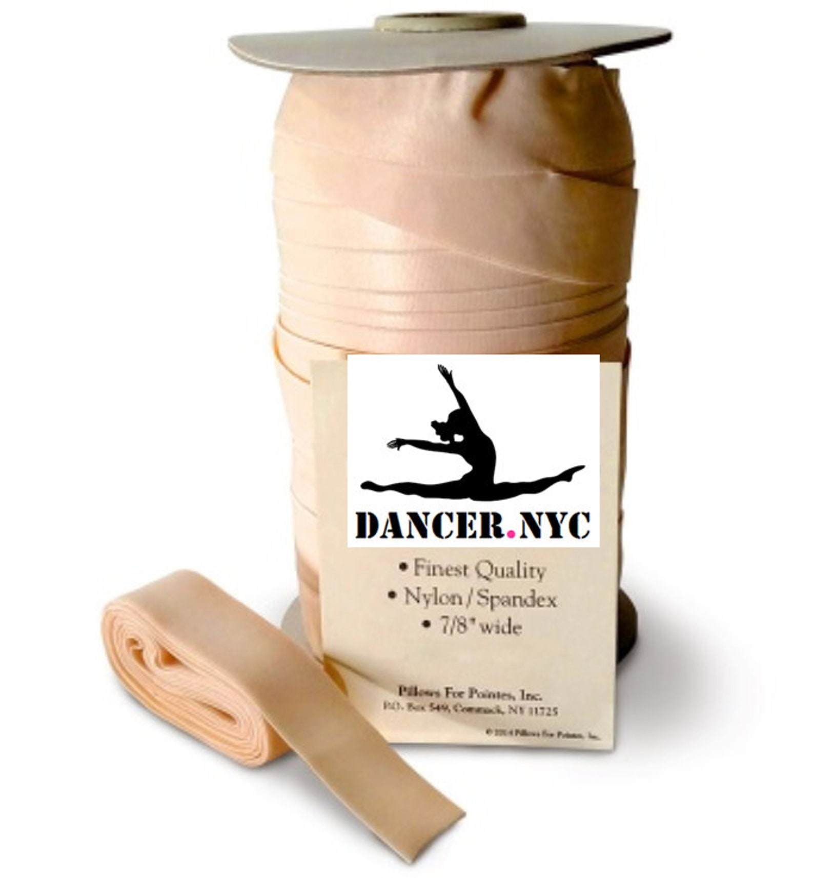 ballet satin and stretch ribbon and elastic sold by the foot - pink
