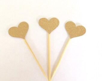 20 Gold glitter heart Cupcake Toppers. Glitter heart, Food picks. Wedding, Bridal shower, Birthday Party, Baby Shower