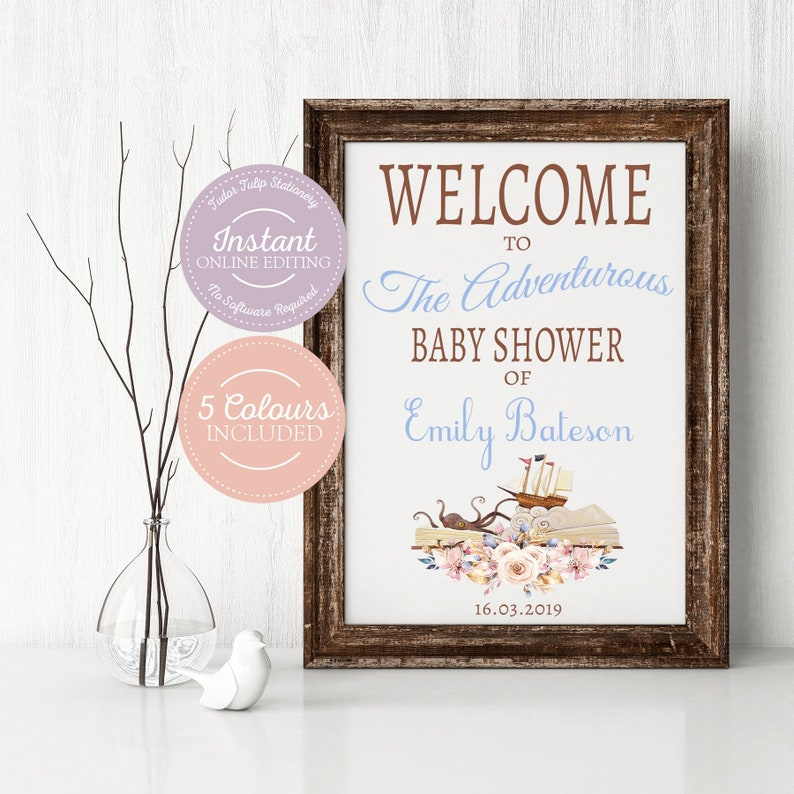 Book Themed Baby Shower Welcome Sign Template Decorations For Etsy
