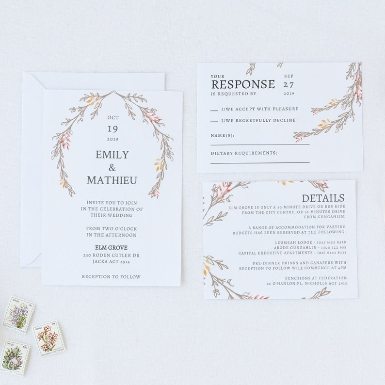 Outdoor Fall Wedding Invitation Template Rustic Winter Set Autumn Invite Ideas Reception