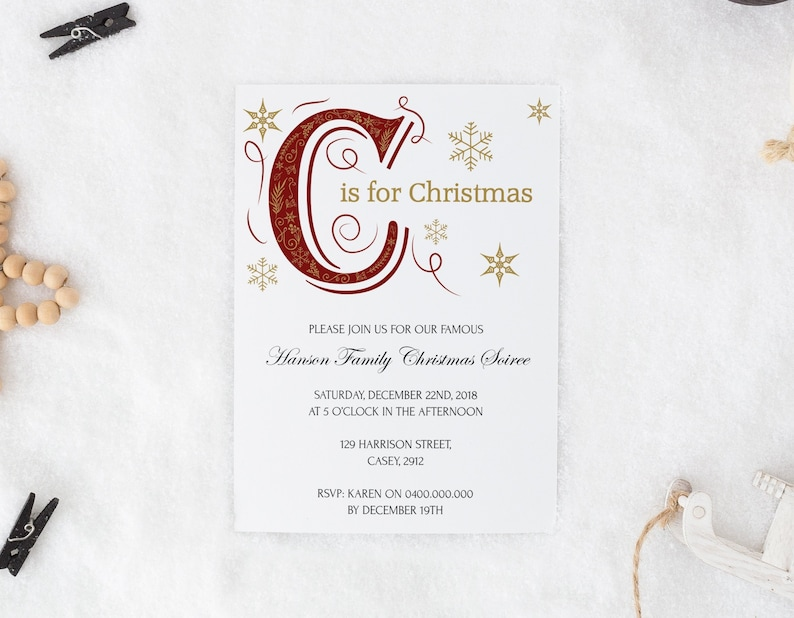 Vintage Christmas Party Invitation Family Template Printable Holiday Invite Digital