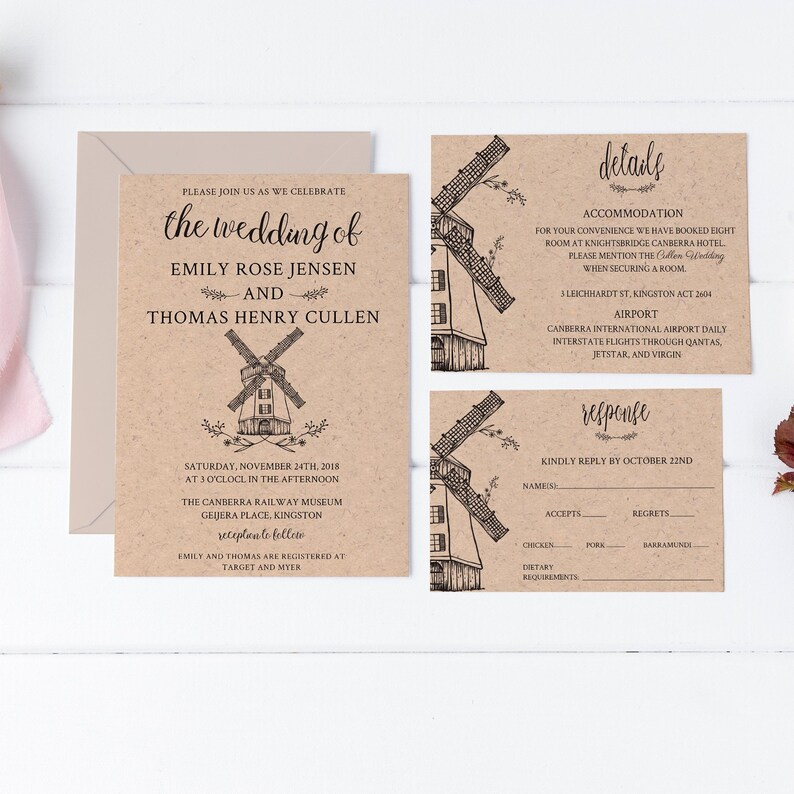 Rustic Windmill Wedding Invitation Template Fall Barn Announcement Vintage Outdoor Printable Invite