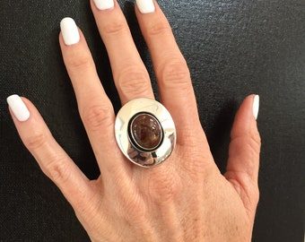 Mexican fire agate in sterling silver shadow box ring