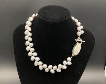 Teardrop freshwater pearl choker with custom rainbow moonstone clasp with toggle closure