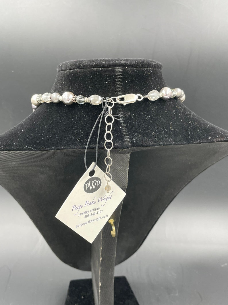 Play on Gray Necklace made from three clip-on earrings to create a pendant strung on mixed beads