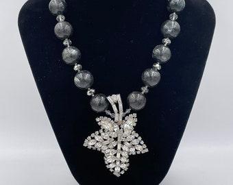 First Frost- Vintage Warner Brooch Necklace