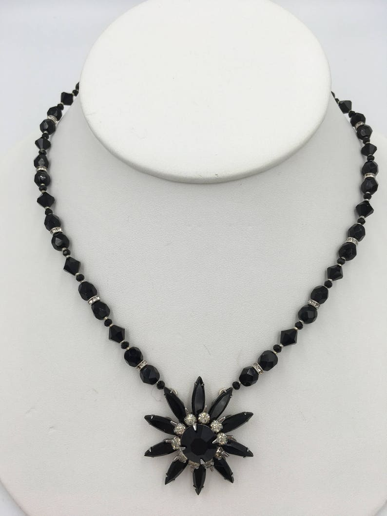 Upcycled Vintage one-of-a-kind Black Rhinestone Necklace image 0