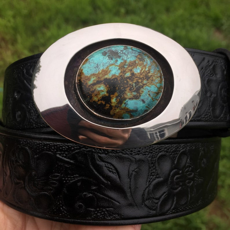 Sterling silver shadow box belt buckle with Tibetan turquoise image 0
