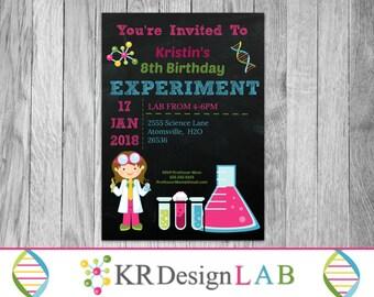 Science BIrthday Invitation - Party Invitation - Printable Invites - Invitations - Scientist Invites