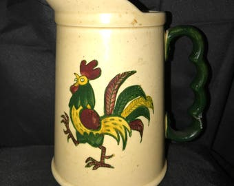 "Beautiful Metlox by PoppyTrail Rooseter Pitcher 6 1/2 "" x 4 1/4"""