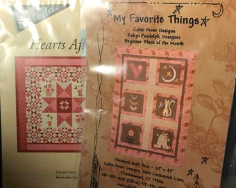 2~Quilt Patterns~My Favorite things & Hearts Aflutter~