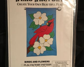 "Flag Factory Birds and Flowers~ 28"" x 49"" min sewing pattern~"