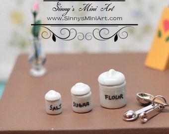 Dollhouse Miniature 4 pc Cherries Canister Set Flour Sugar Coffee Tea 1:12