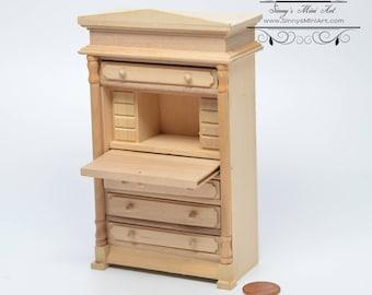 Attirant 1:12 Dollhouse Miniature Unpainted Secretary Desk / Miniature Unfinished  Furniture AZ GW120