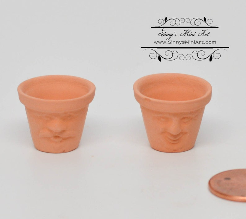 Dollhouse Miniature Set of 2 Clay Flowerpots