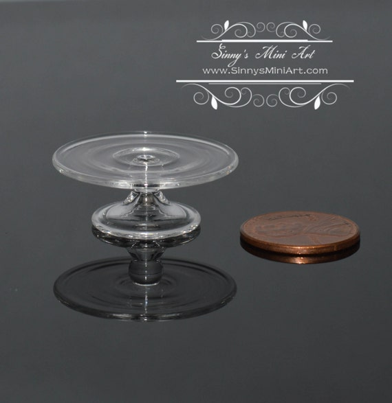 1:12 Dollhouse Miniature Cake Stand Clear Glass BD HB260