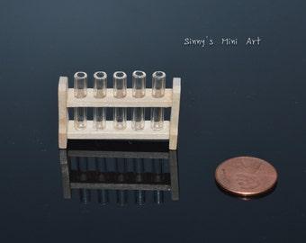 1:12 Dollhouse Miniature Science Geek Test Tube on a Rack/ Dollhouse miniatures D52