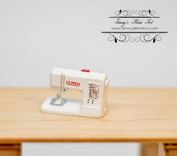 40402 Dollhouse Miniature Modern Sewing Machine White AZ T40 Etsy Enchanting Modern Sewing Machine